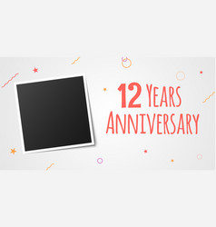 12 years anniversary photo frame card 12th year vector image