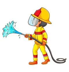 A drawing of a fireman vector image