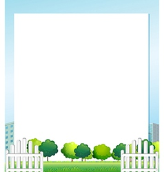 An empty paper with trees at the bottom vector