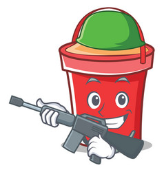 army bucket character cartoon style vector image