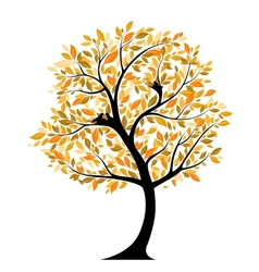 Autumnal tree with bird nests vector