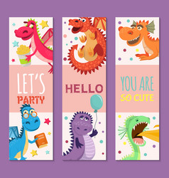 baby dragons set of birthday or invitation banners vector image