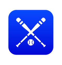 baseball bat and ball icon digital blue vector image