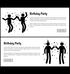 birthday party poster dancing men black silhouette vector image