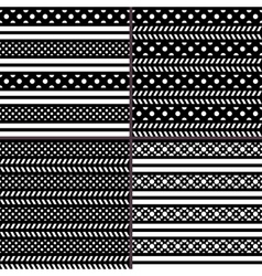 black and white polka dot horizontal striped vector image