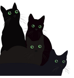 Black cats with green eyes over white background vector