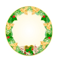 Button circular Christmas Spruce with holly vector