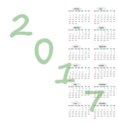 Calendar 2017 year simple style vector