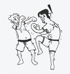 Cartoon boxing funny show muay thai vector