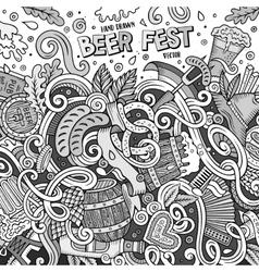 Cartoon cute doodles hand drawn beer frame design vector