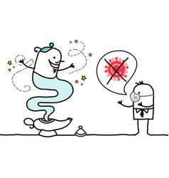 Cartoon man with genie lamp wishing vector