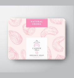 Cashew soap cardboard box abstract wrapped vector