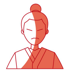 Character japanese man clothes culture red line vector