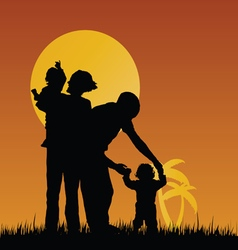 Children with mom and dad in nature vector