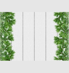 christmas snow-covered branches background vector image