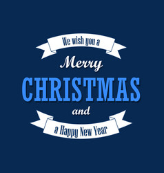 christmas text white ribbon merry vector image