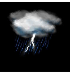 Cloud with lightning and rain icon vector image