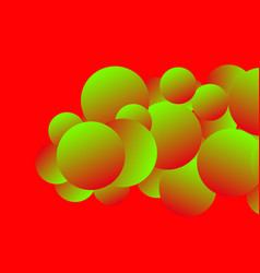 Colorful image with gradient bubbles on red vector