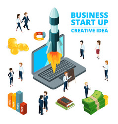 concept of starting business startup vector image vector image