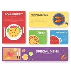 Cooking set cards with menu background vector
