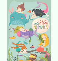 cute cartoon card with little mermaids under the vector image
