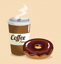 Delicious coffee plastic pot and donut vector