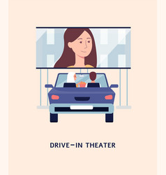 Drive-in theater with people watching movie from vector