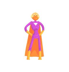 Elderly superhero standing in heroic posture vector