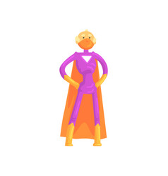 Elderly superhero standing in heroic posture with vector