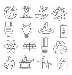 energy line icons set on white background vector image