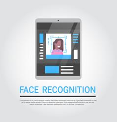 Face recognition technology digital tablet vector