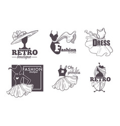Fashion retro boutique isolated icons female vector