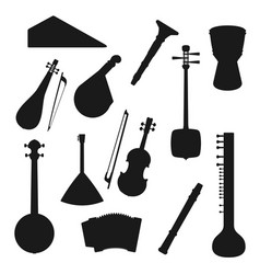 folk and classic music instrument silhouettes vector image