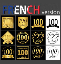 French set of number 100 templates vector