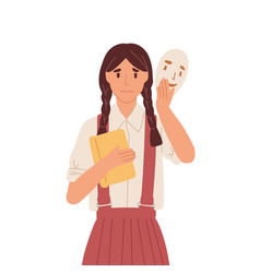girl putting on social face mask with fake vector image