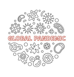 global pandemic round in thin vector image