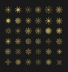 golden christmas snowflake set vector image