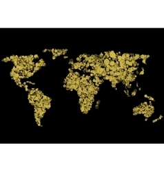 Golden World map vector image