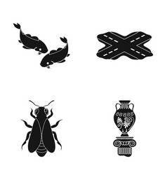 Greek history museum and other web icon in black vector