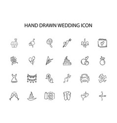 Hand drawn icon set wedding pack vector