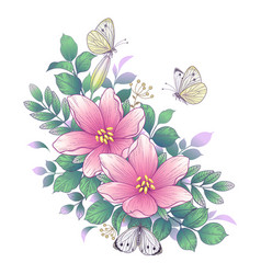 Hand drawn pink flowers and butterflies vector