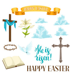 Happy easter set decorative objects religious vector