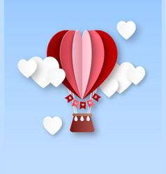 heart air balloon paper cut hot air balloon vector image