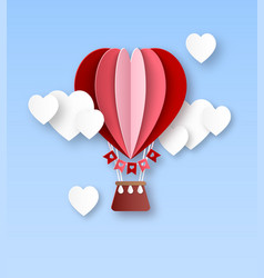 Heart air balloon paper cut hot air balloon with vector