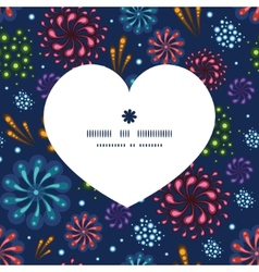 holiday fireworks heart silhouette pattern frame vector image