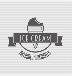 ice cream vintage retro label badge or logo vector image