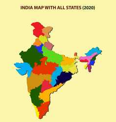 India new map 2020 new division in all new vector