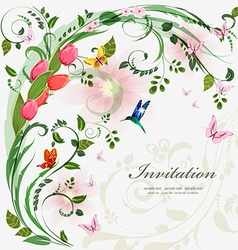Invitation card with spring flowers With love for vector image