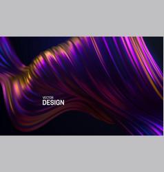 iridescent striped wave liquid flowing shape vector image