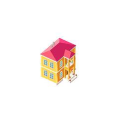 isometric facade yellow house vector image